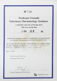 葉月会臨床皮膚病学コース修了証